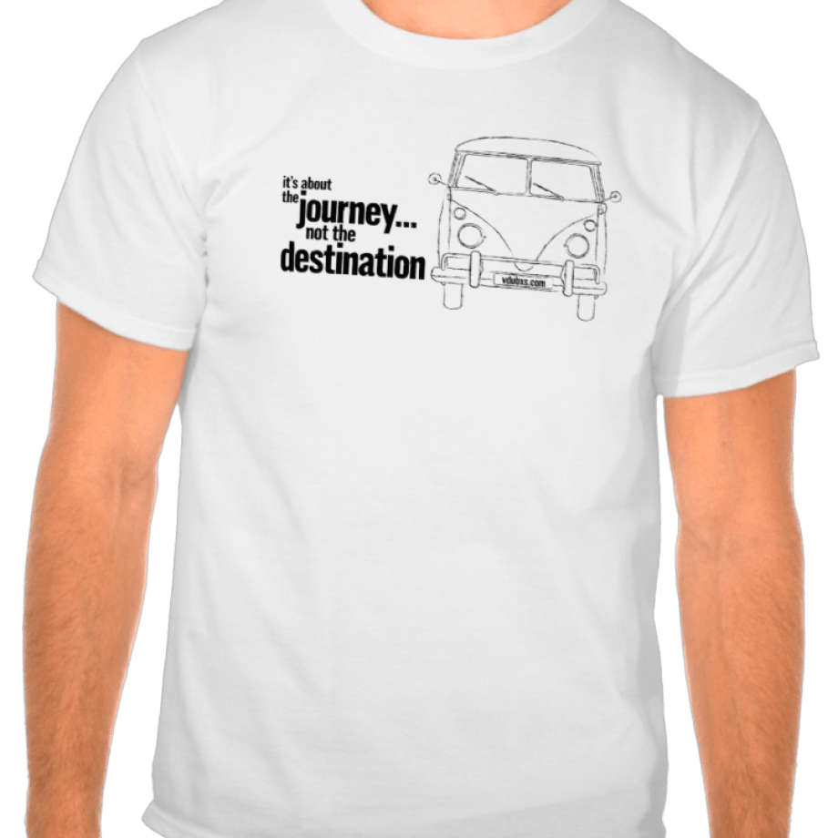 it's about the journey… not the destination T-shirt design, available in a range of colours…