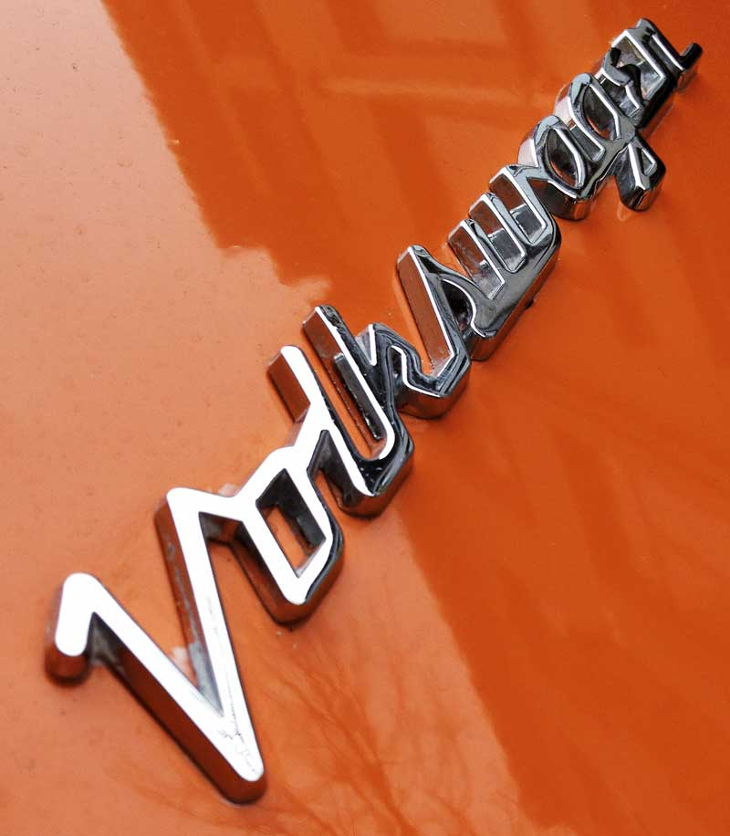 loved the typographic design of this Volkswagen chrome script badge