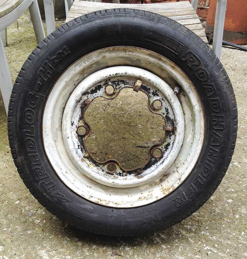 "original VW steel 14"" wheel (wide 5 stud pattern)"