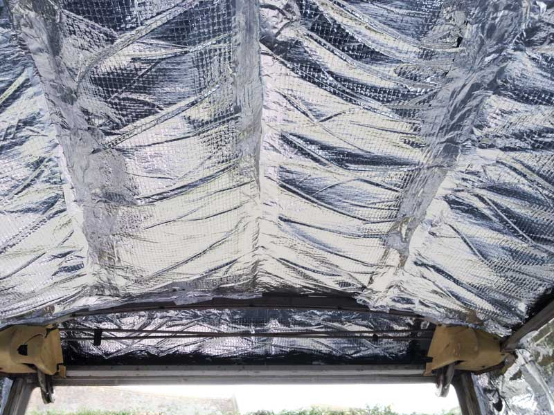 starting at the back and insulating our way forward with the Triso Super 10 plus insulation