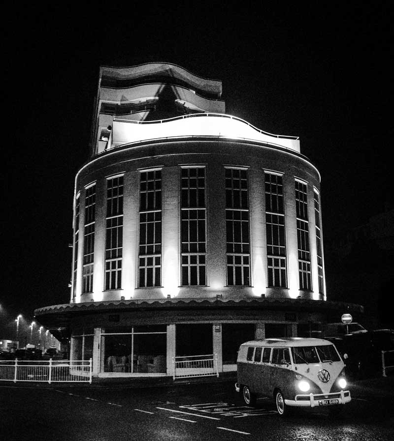 outside the famous Art Deco Architecture of Marine Court in St Leonards-on-Sea