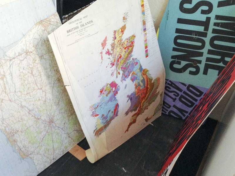 retro Ordnance Survey and vintage geological maps for the rear of the bus