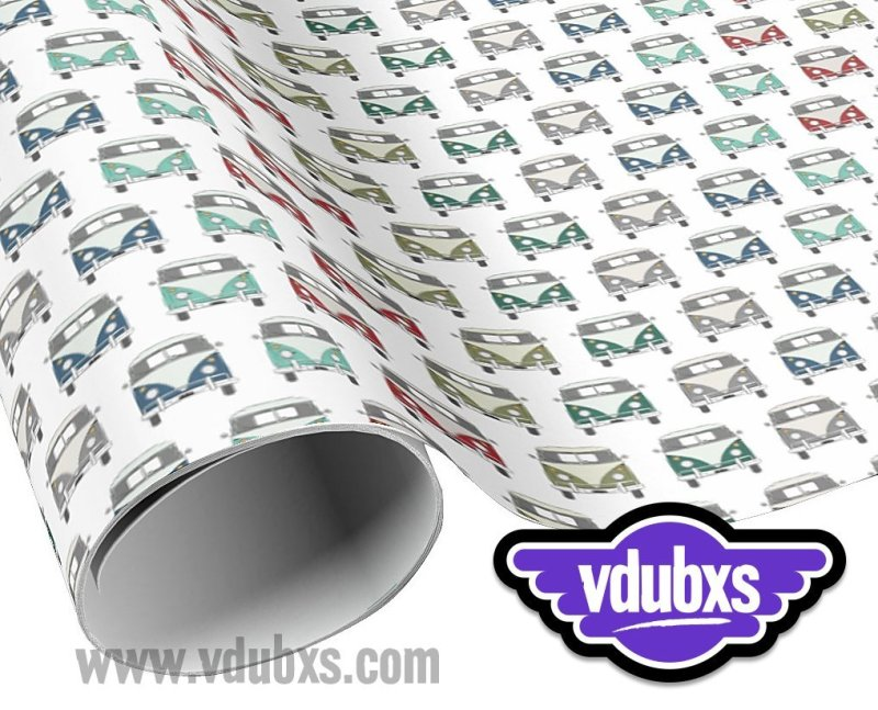 """funky, multi coloured vintage bus wrapping paper - 30"""" width x length with multiple choices from 6 feet - 60 feet"""