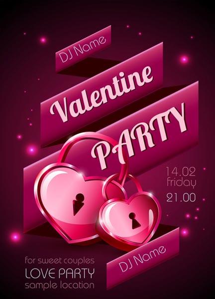Valentine Party Disco Poster Vectors