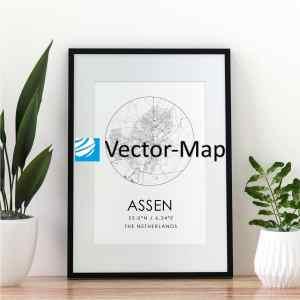 kaart poster Assen