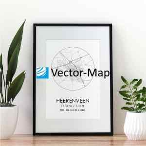 kaart poster Heerenveen