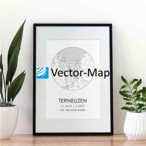 kaart poster Terneuzen