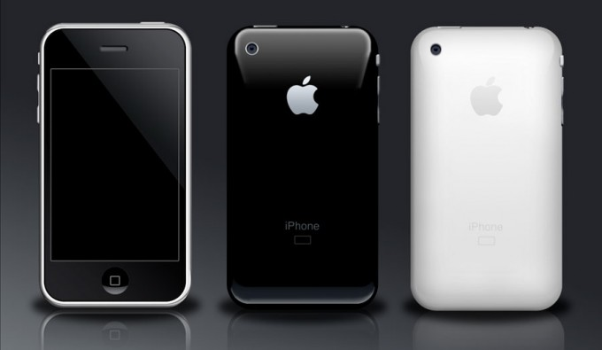 iPhone 3G Phone Icon in White and Black.