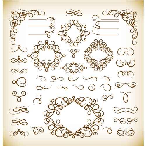Vector Set of Vintage Calligraphic Design Elements