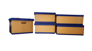 Quality packing materials - five cartons with blue tops and bottoms