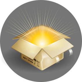 An open box with bright light coming out of it