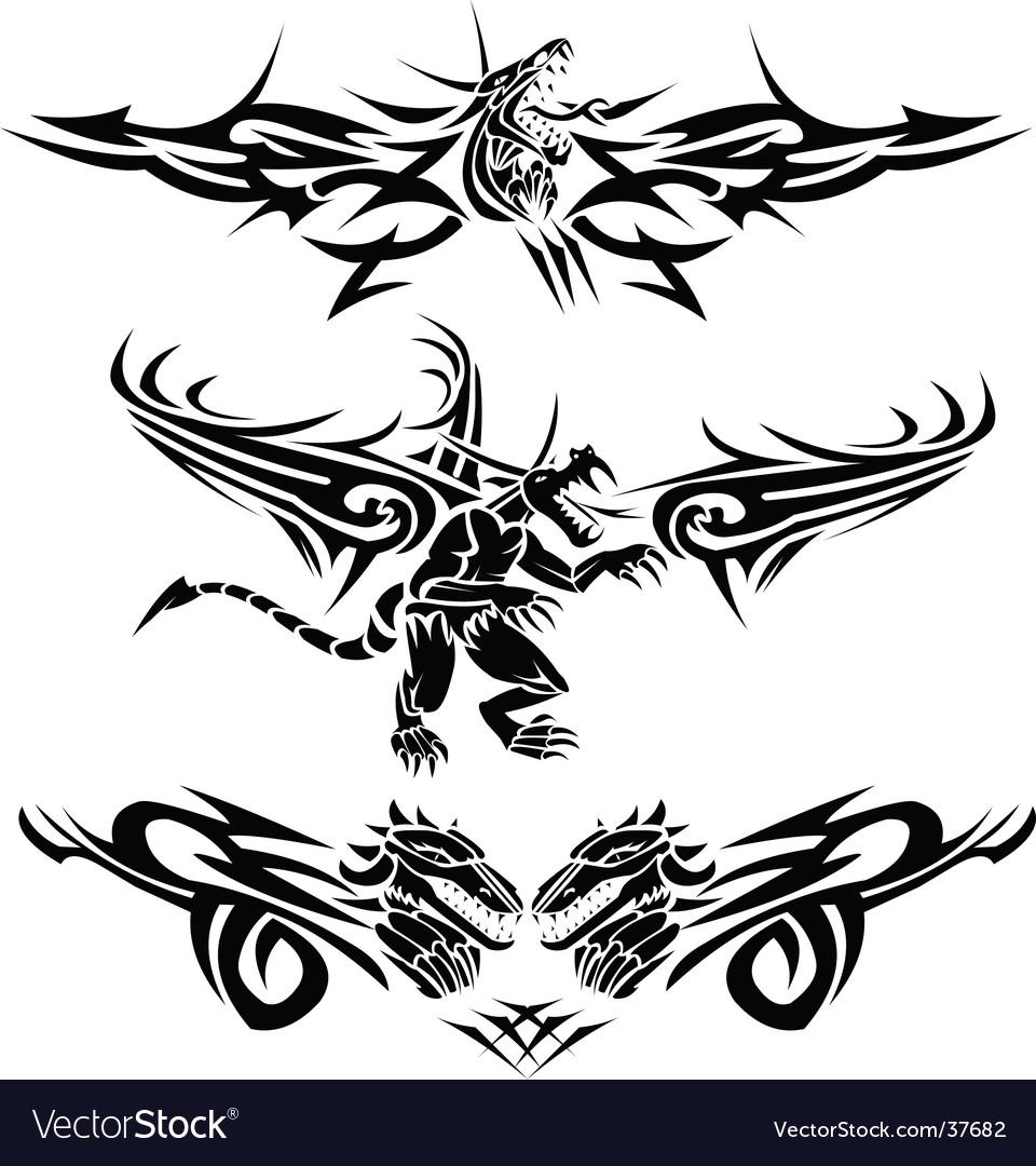 Tattoos Dragons Vector. Artist: Bastetamon; File type: Vector EPS