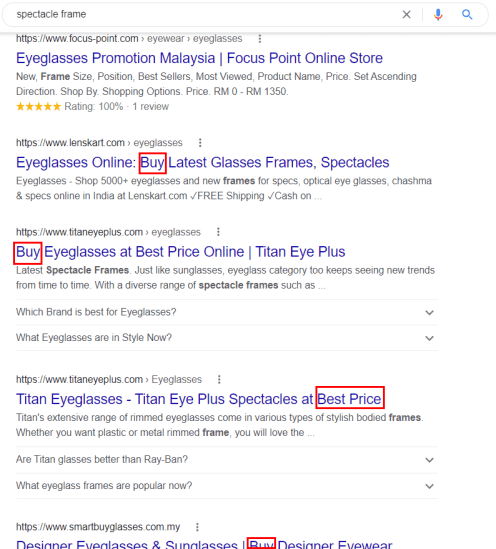 google search result of spectacle frame