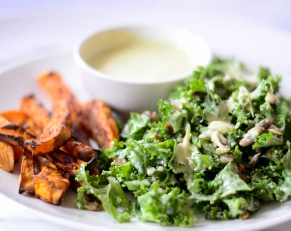 Kale Salad with Creamy Caesar Dressing