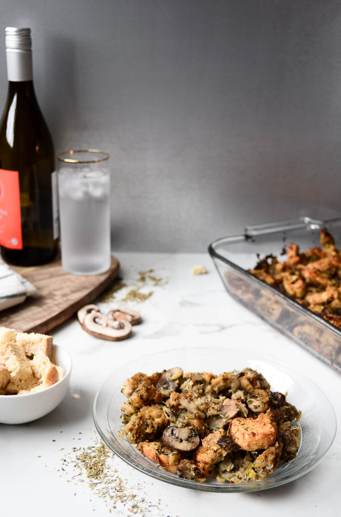 This vegan mushroom stuffing has a tasty sourdough twist you're gonna love! It's also bursting with savory mushrooms, white wine & all the best holiday herbs.