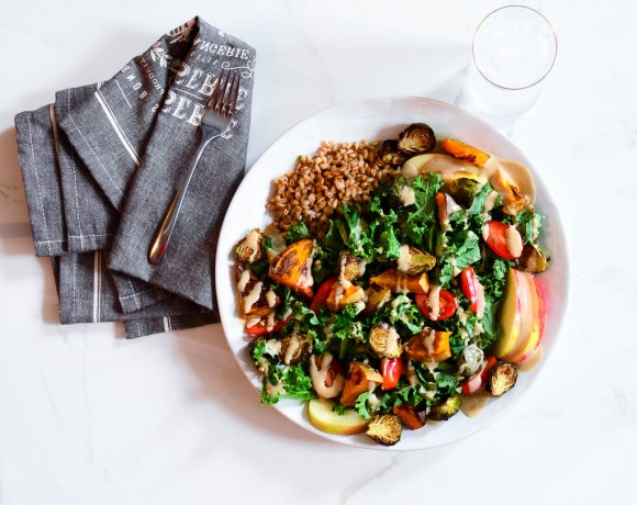 Crisp Kale & Roasted Squash Salad with Cinnamon Tahini Dressing