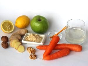 Ingredientes para un Batido de Zanahoria y Manzana