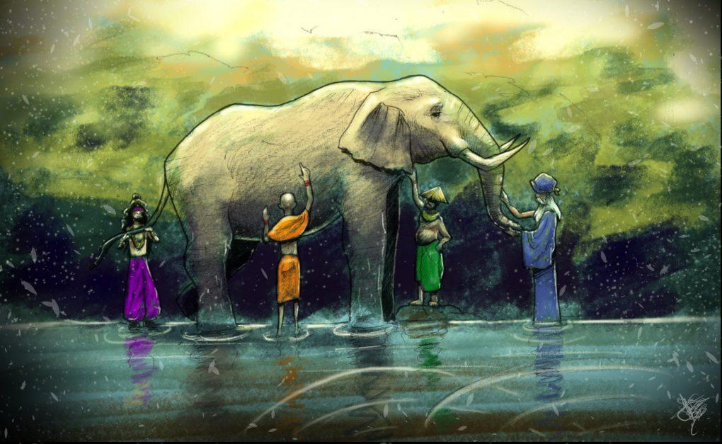 Los Seis Sabios Ciegos y el Elefante (dibujo de Almasu Awen)