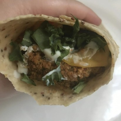 Bean burger wrap with smoked slices