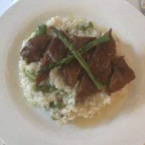 Asparagus risotto with steak