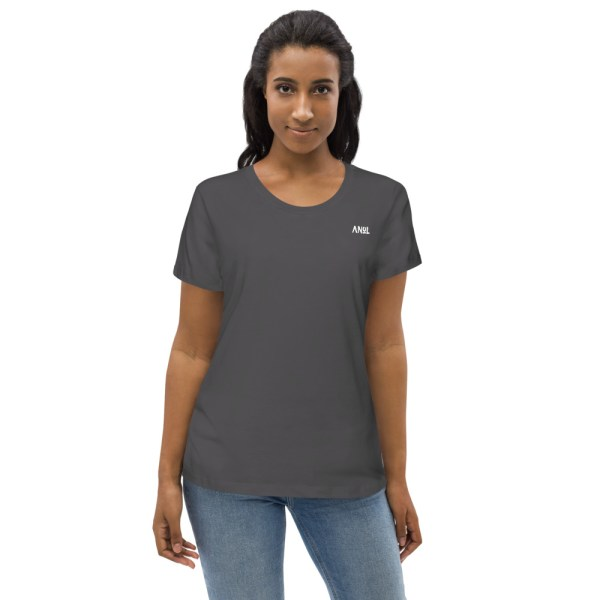 Anthracite Front - Pow – Women's Fitted Organic Tee