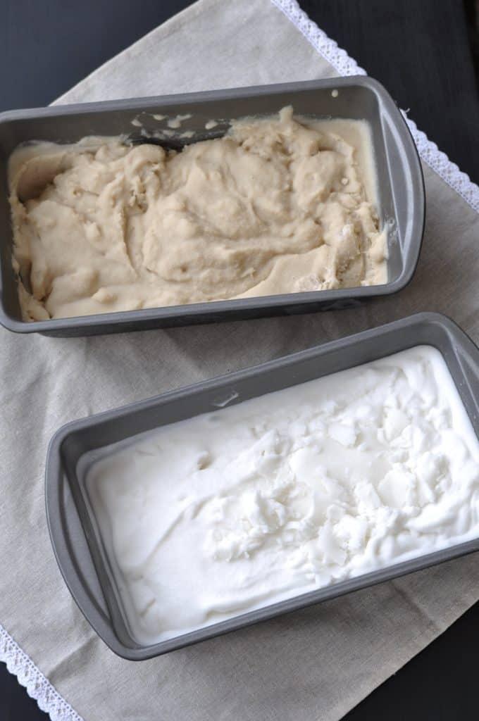 Vegan Vanilla Dream Ice Cream with two different sweeteners.