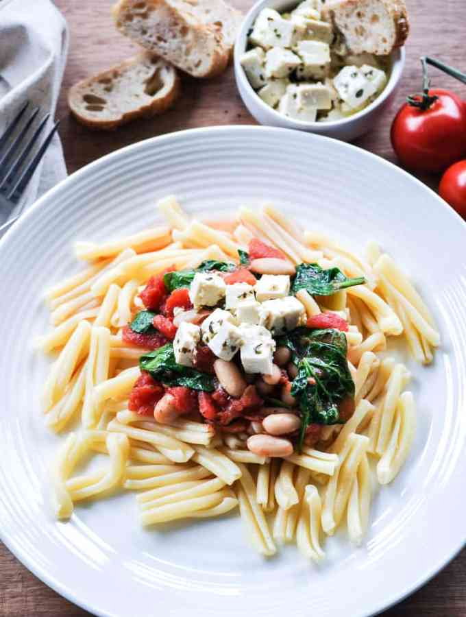 Vegan Feta with Spinach, Tomato and White Bean Pasta