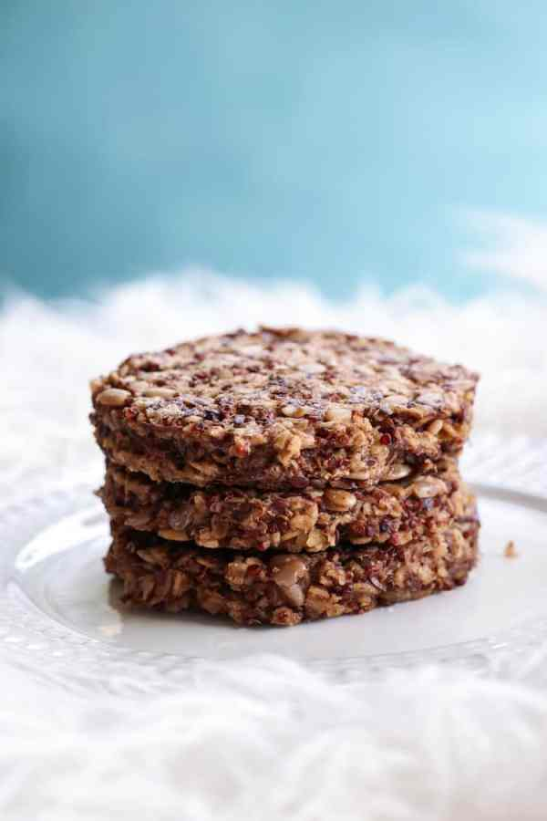 Stacked Hickory Smoked Red Quinoa Burgers Vegan and Gluten Free