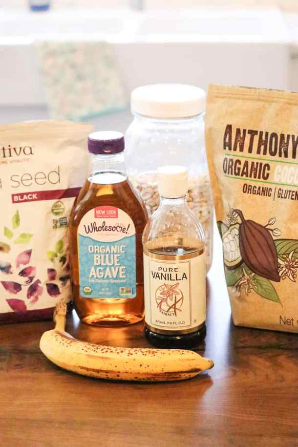Ingredients for Cocoa Chia Seed Pudding