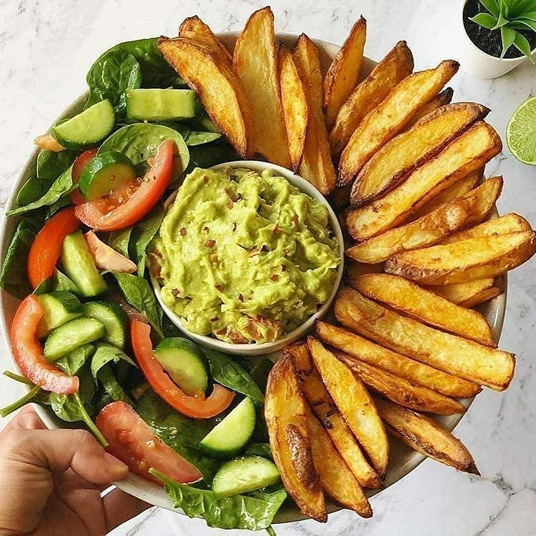 oven baked crispy fries and guacamole by veganbyeden display image  d832f629