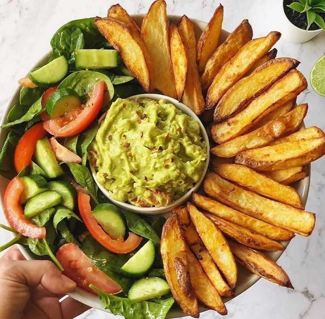 oven baked crispy fries and guacamole display image  e80336a4