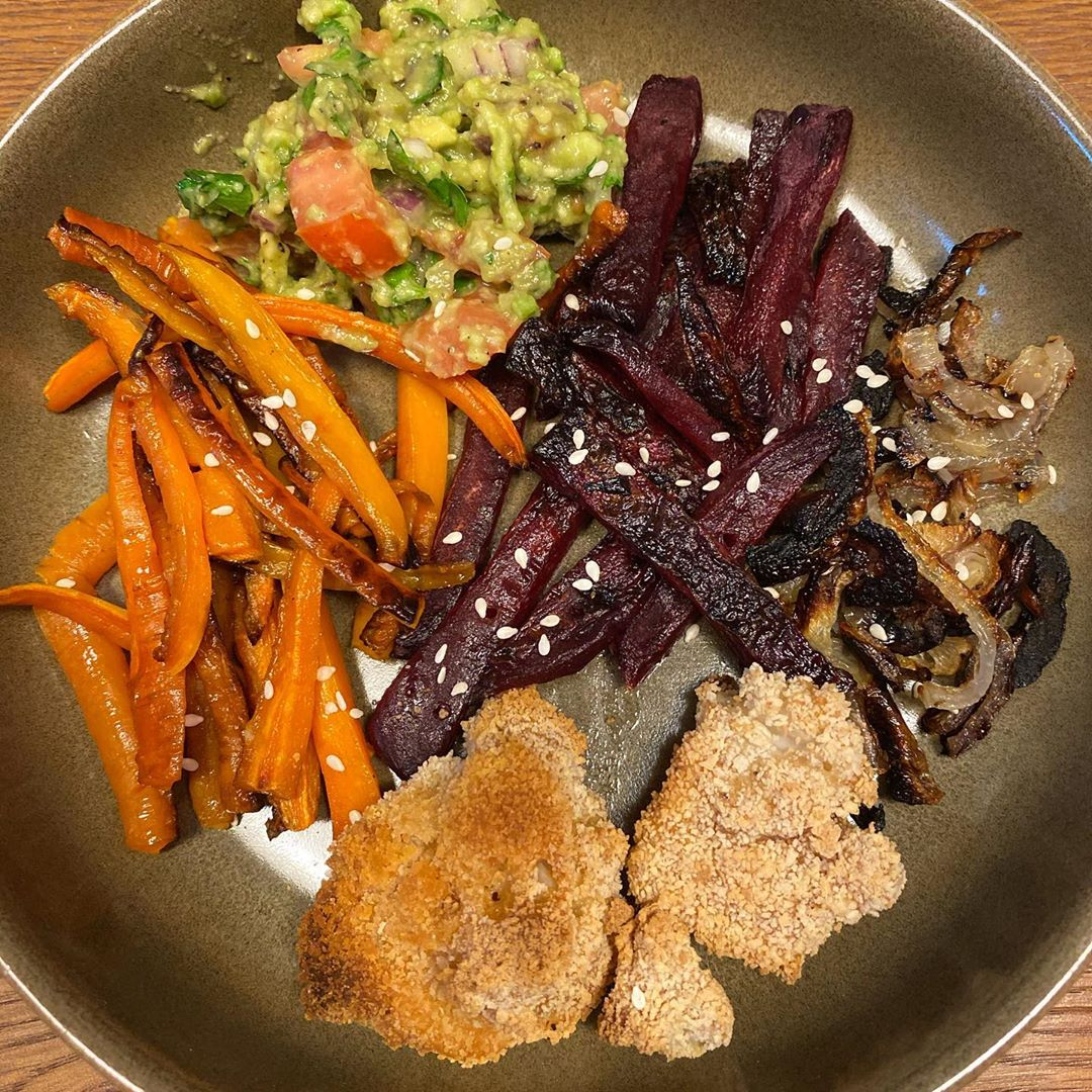 vegan roasted veggies breaded couliflower and guacamole display image  7d47ce30