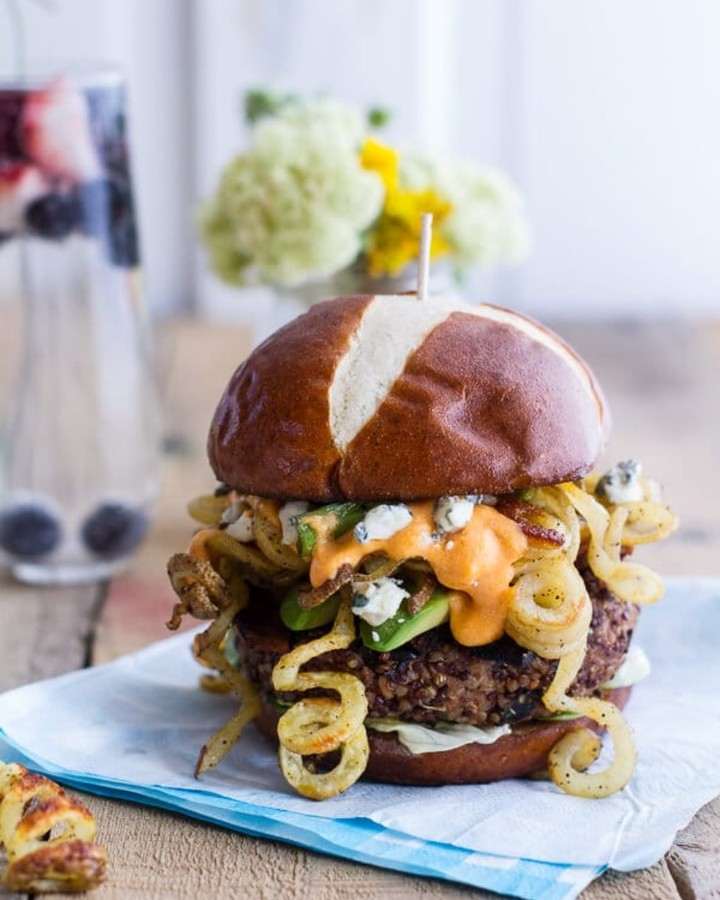 buffalo blue curly cheese fry and crispy black bean burgers display image  88de9aff
