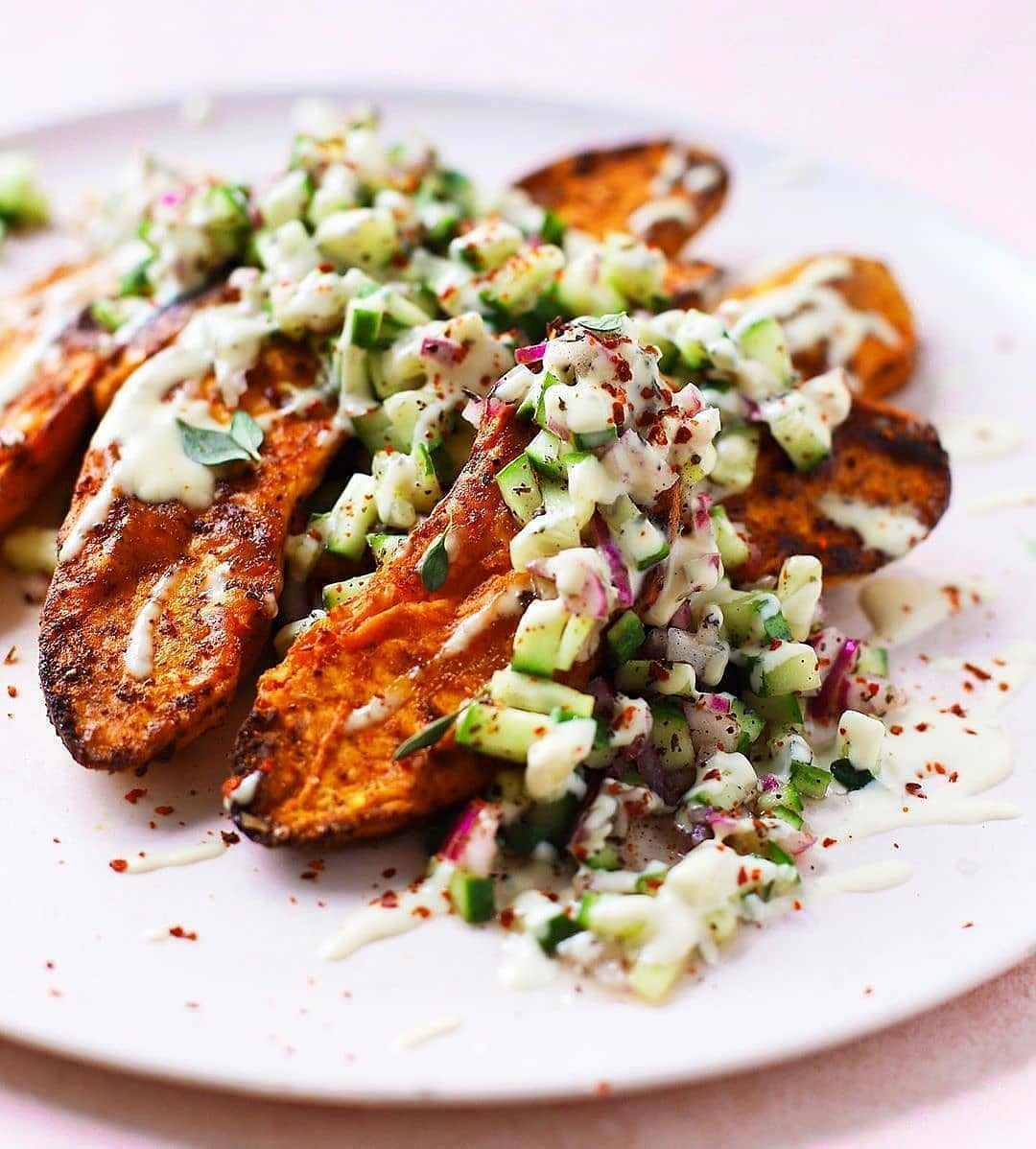 spiced sweet potatoes with tangy cucumber sumac salsa & wh display image  999b0e14