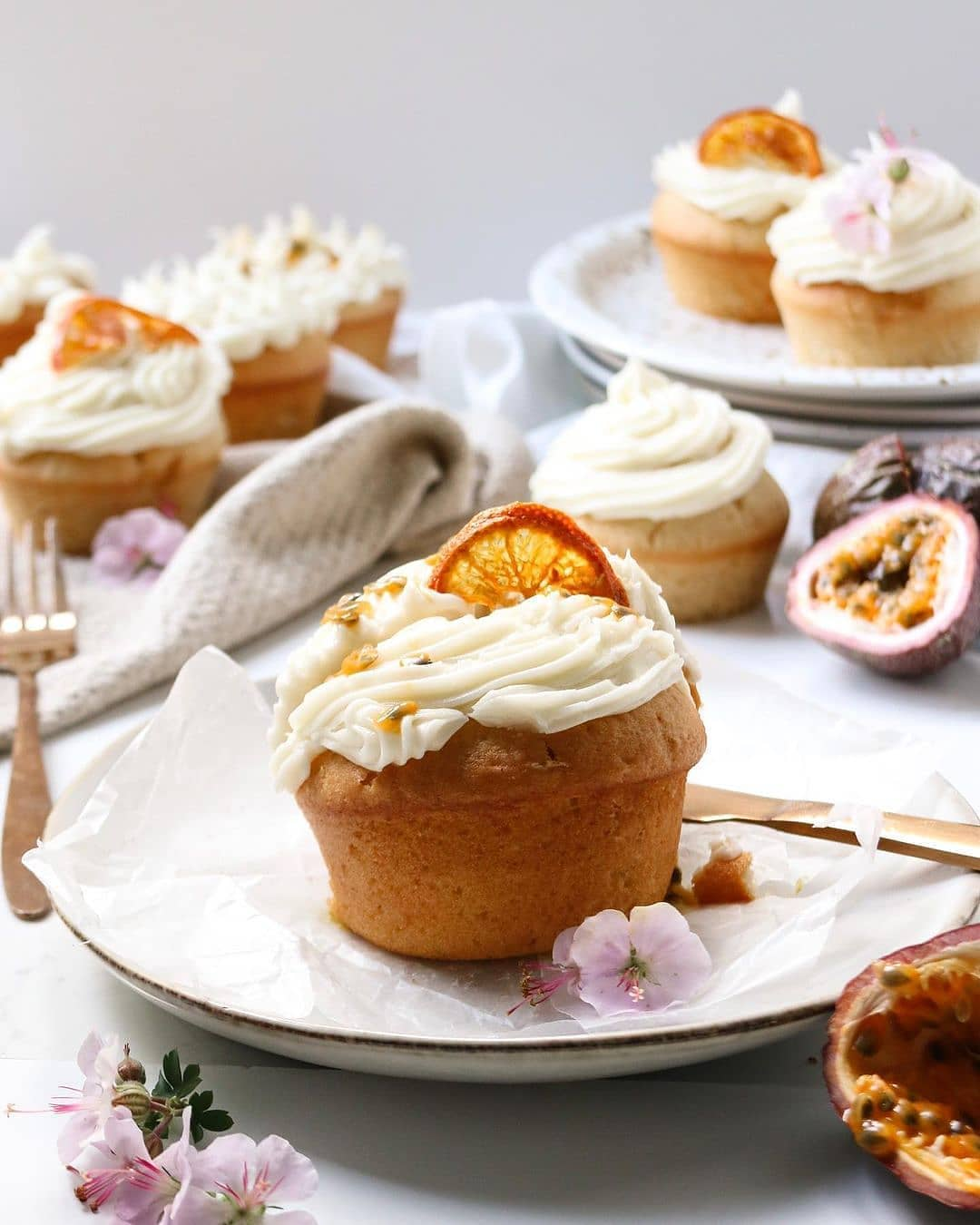 orange zest and passion fruit cupcakes display image  5f4223e2