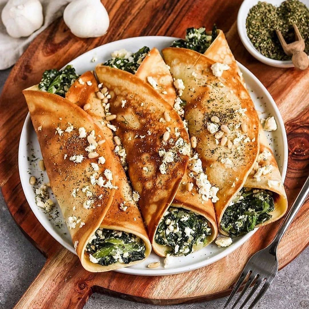 vegan oven baked filled crepes with spinach and feta by bya display image  dbc0a333
