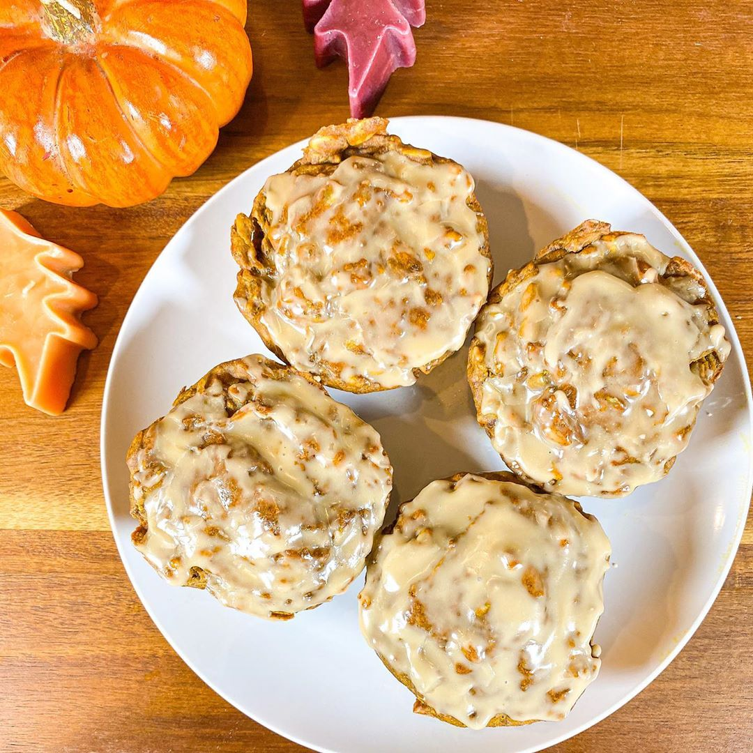 vegan pumpkin spice muffins topped with traderjoes mapl display image  b30ada0c