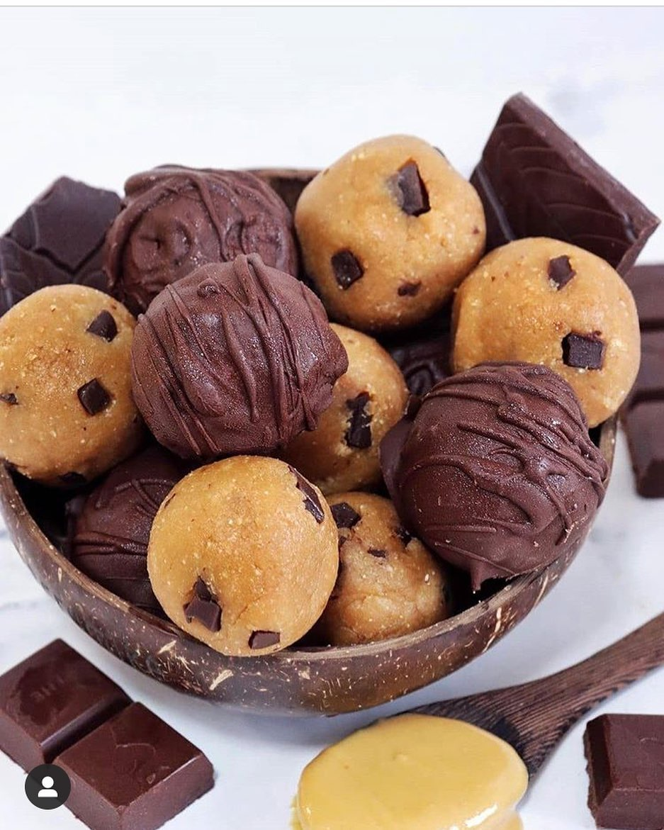 easy peanut butter chocolate chip cookie dough balls by run display image  16741755