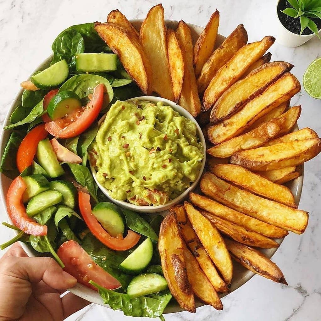oven baked crispy fries and guacamole by veganbyeden display image  5e110ae5