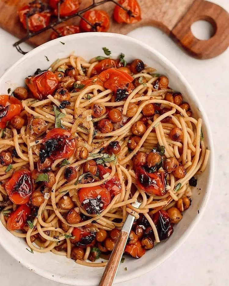 garlic roasted tomato chickpea pasta did you know you display image ceef