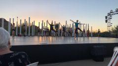 ballet dancers warming up under the Sunset
