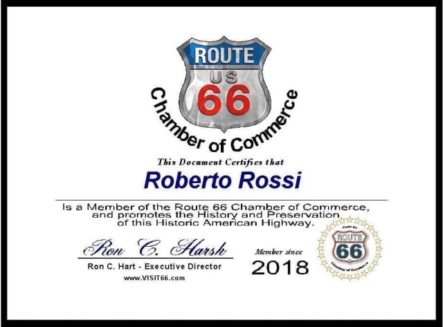 Certificato Chamber of Commerce Route 66