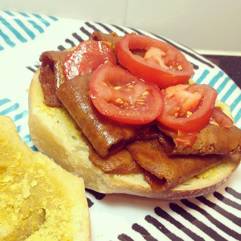 Upton's Seitan Bacon Breakfast Sandwich