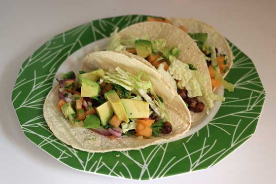Jerk Chickpea Tacos with Melon Salsa