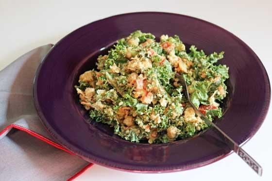 Vegan Caesar Salad with Kale and Chickpeas