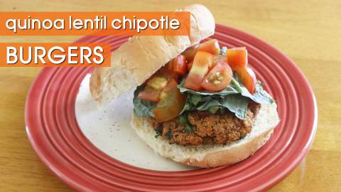 Quinoa Lentil Chipotle Veggie Burger Recipe