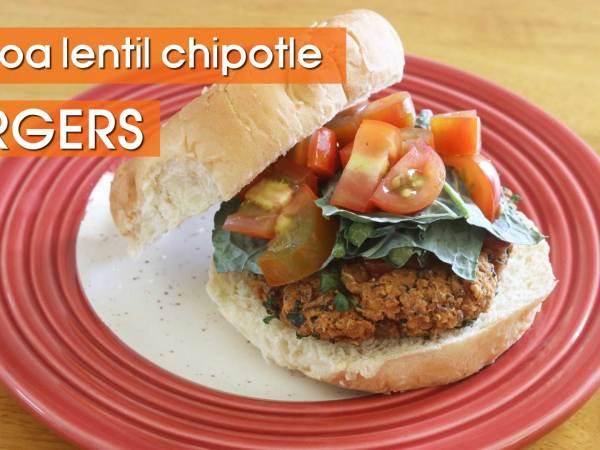 Quinoa Lentil Chipotle Veggie Burger Recipe