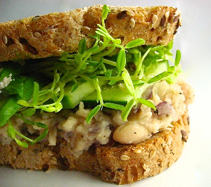 Vegan Sandwich Recipes for Busy People white beans cucumber avocado pea shoots sandwich veganprogram