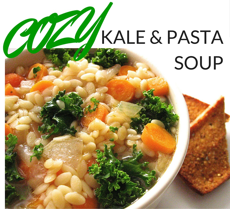veganprogram cozy kale & pasta soup to wind down and relax