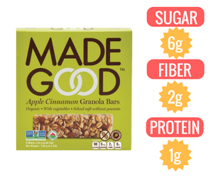 granola bar Made Good Organic Apple Cinnamon Granola Bars veganprogram